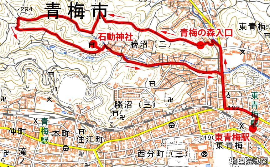 青梅の森・ハイキング用地図