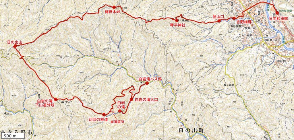 日の出山・登山地図