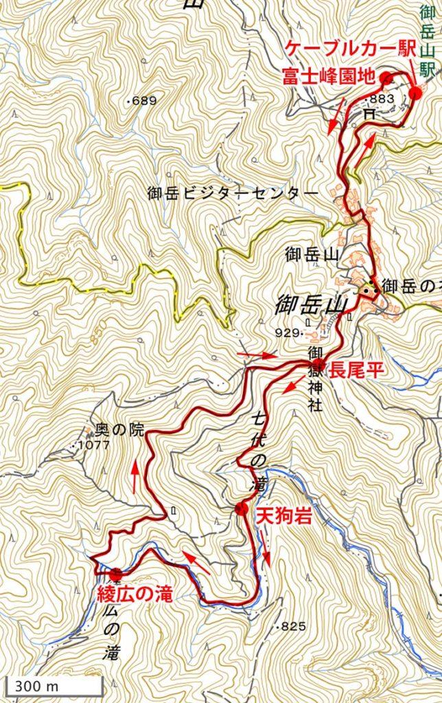 御岳山・登山地図