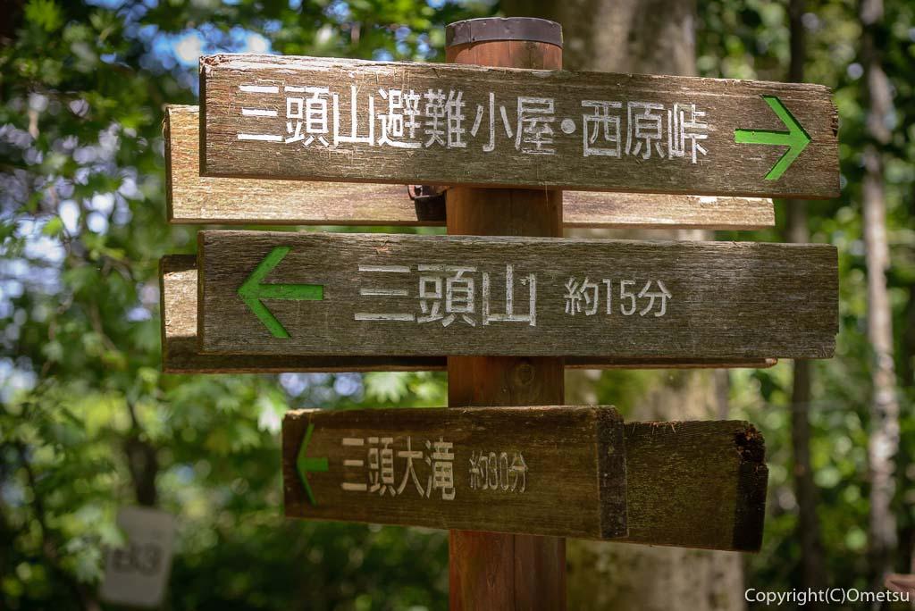 檜原村・三頭山の、ムシカリ峠の道標