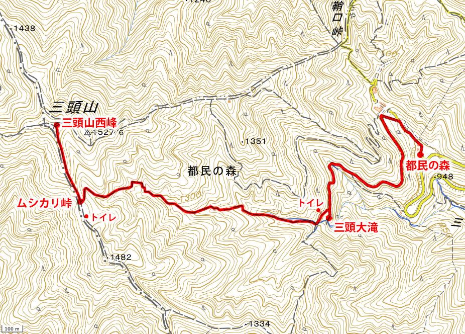 三頭山・登山地図