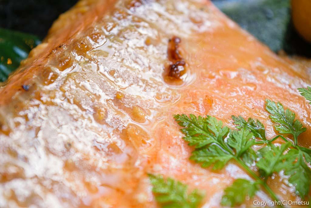 青梅市・河辺の、ビストロ今の、サーモンの味噌焼き