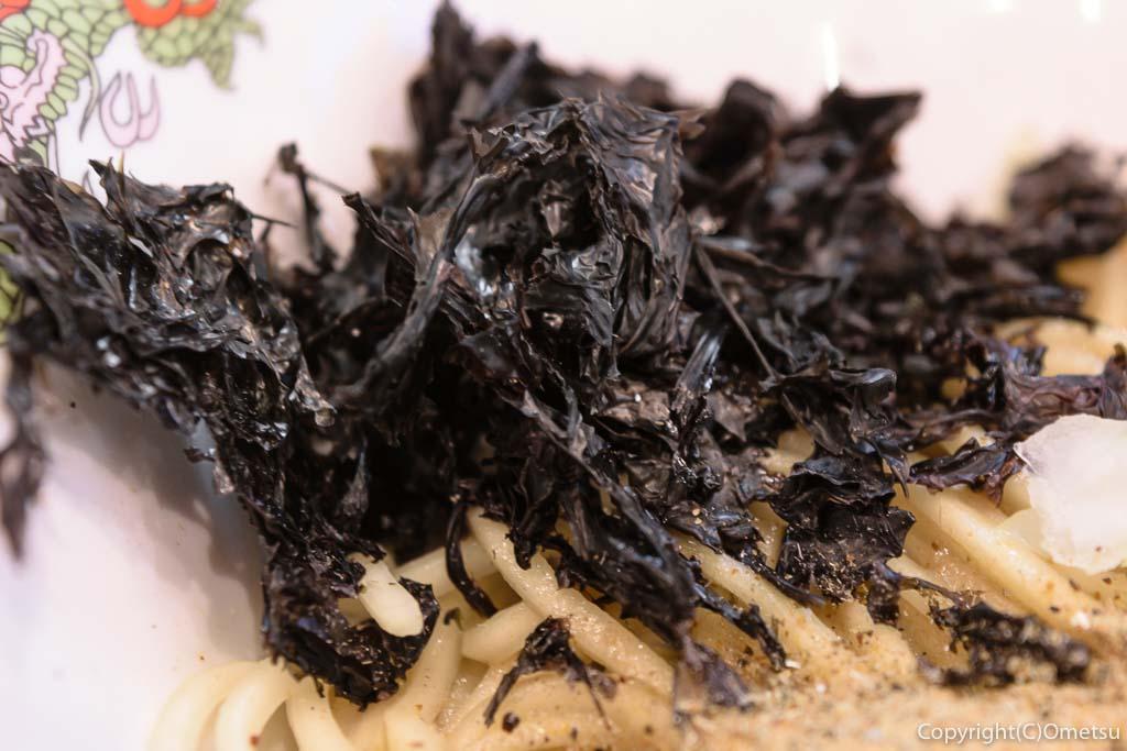 羽村市のラーメン店、煮干乃宴の、和え玉のバラ海苔