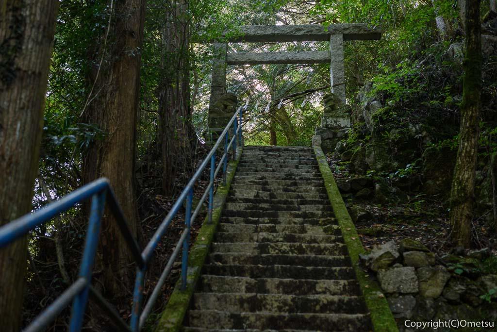 奥多摩むかし道の、白髭神社の石段