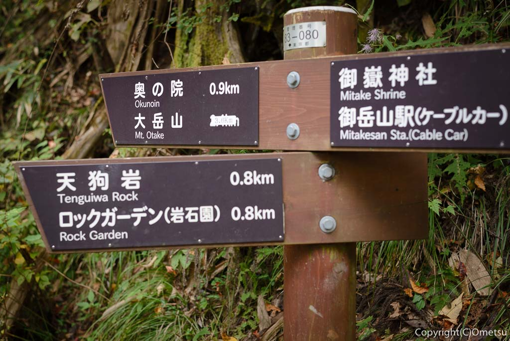 御岳山・大岳山縦走路の道標