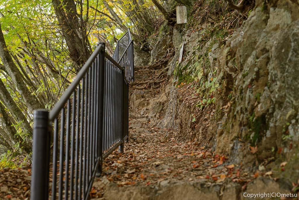 御岳山から大岳への登山道の岩場