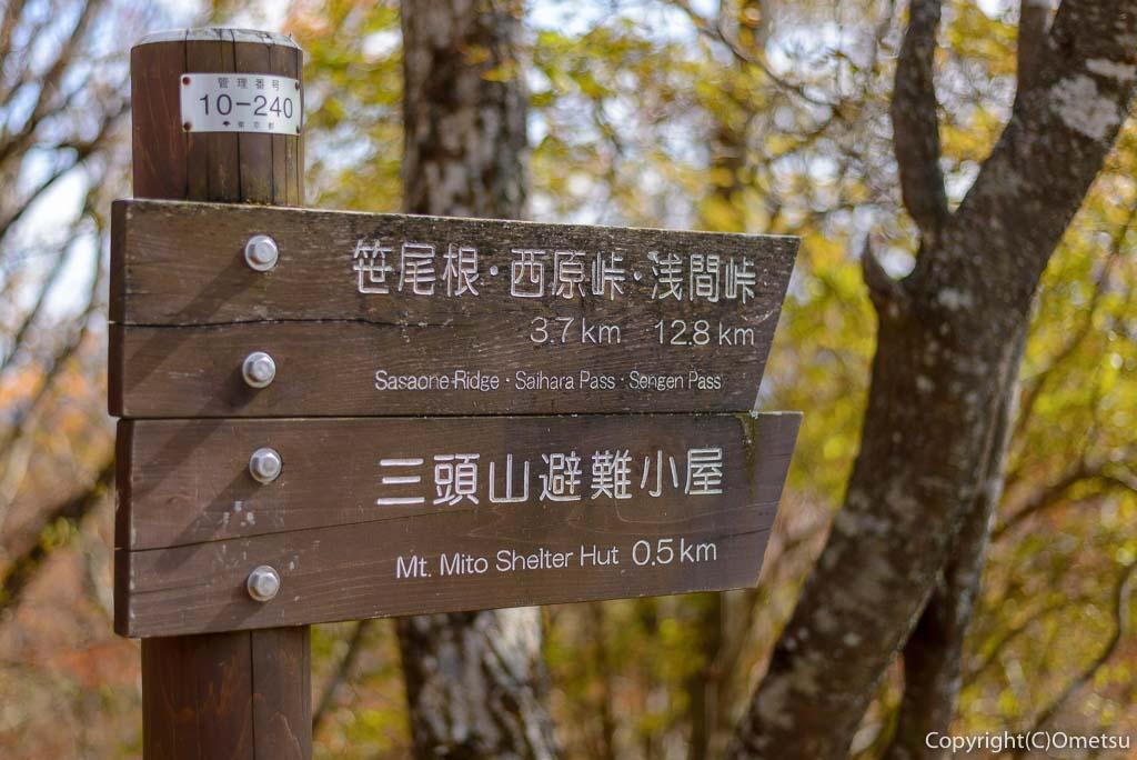 三頭山頂の道標
