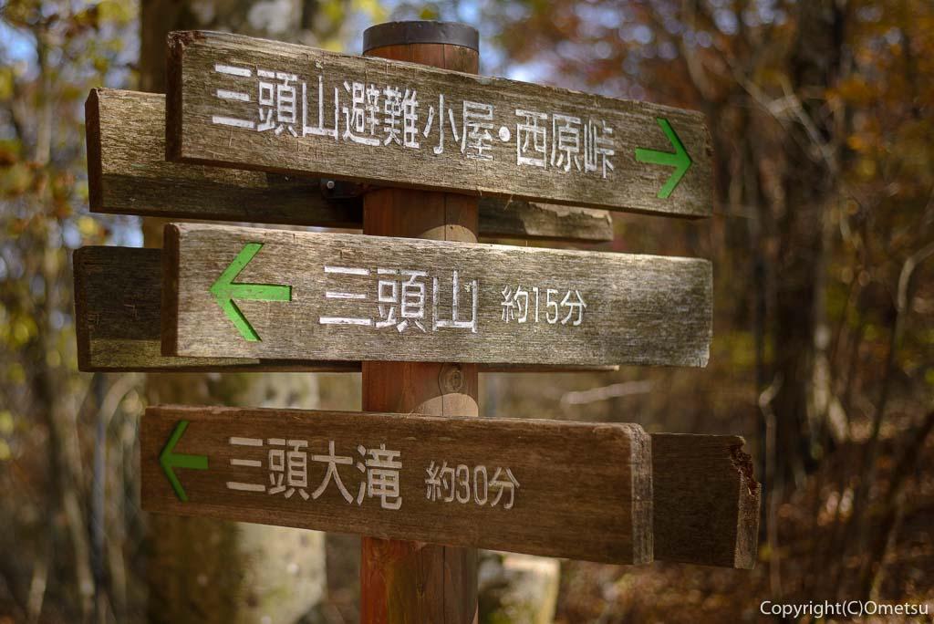 ムシカリ峠の道標