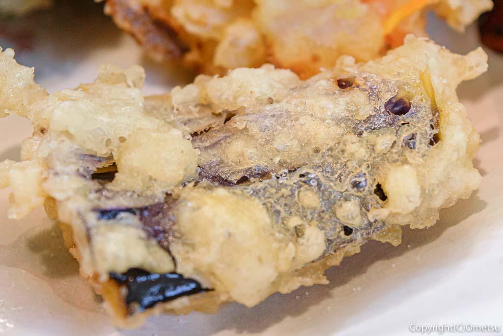 東青梅の蕎麦店、雲水の、ナスの天ぷら