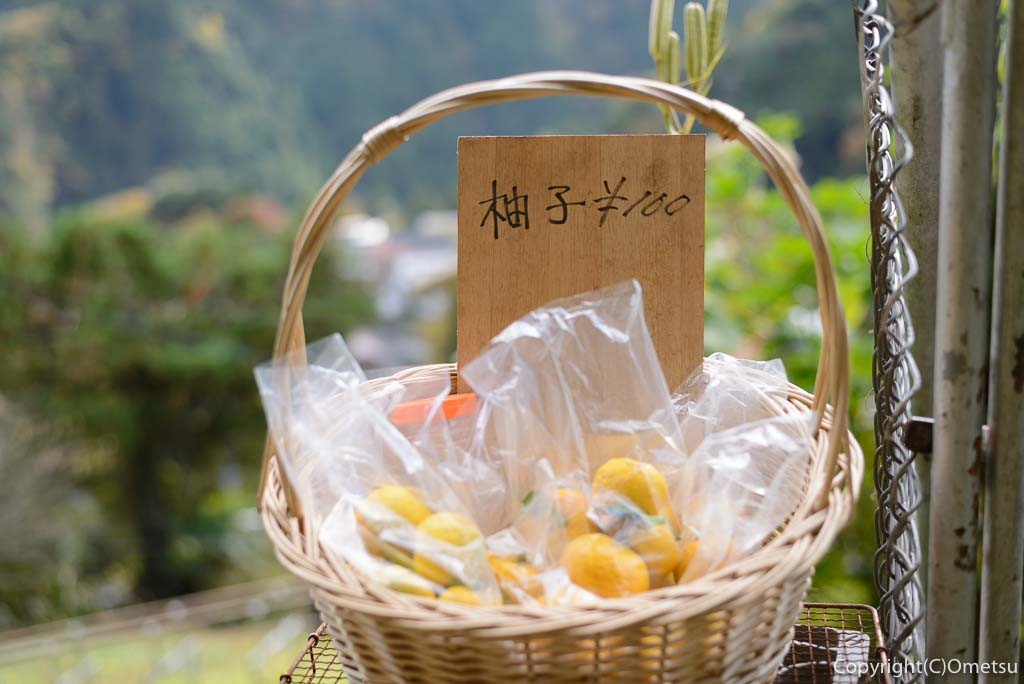 本仁田山の杉ノ尾根登山口近くの柚子の無人販売