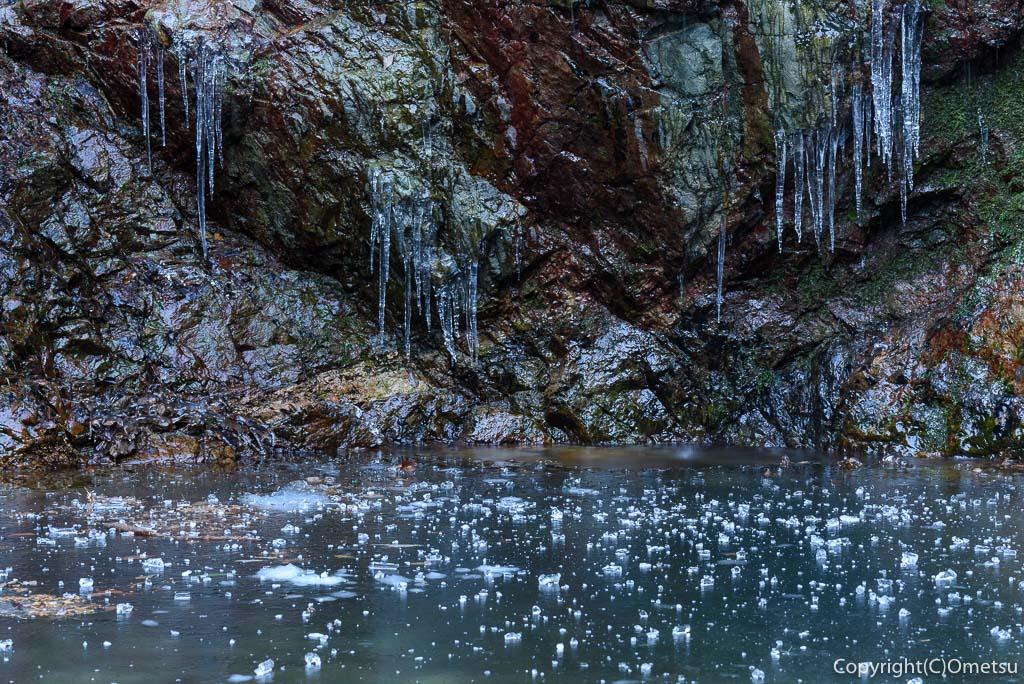 檜原村・払沢の滝の、氷瀑近くの氷柱