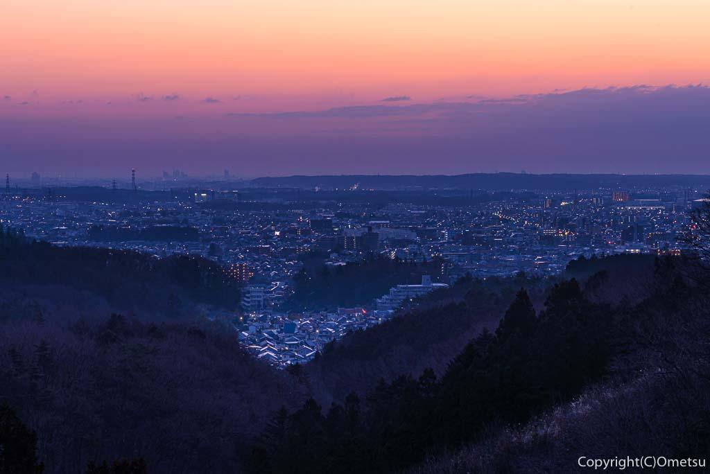 青梅市・永山丘陵・青梅の森からの夜景・朝焼け