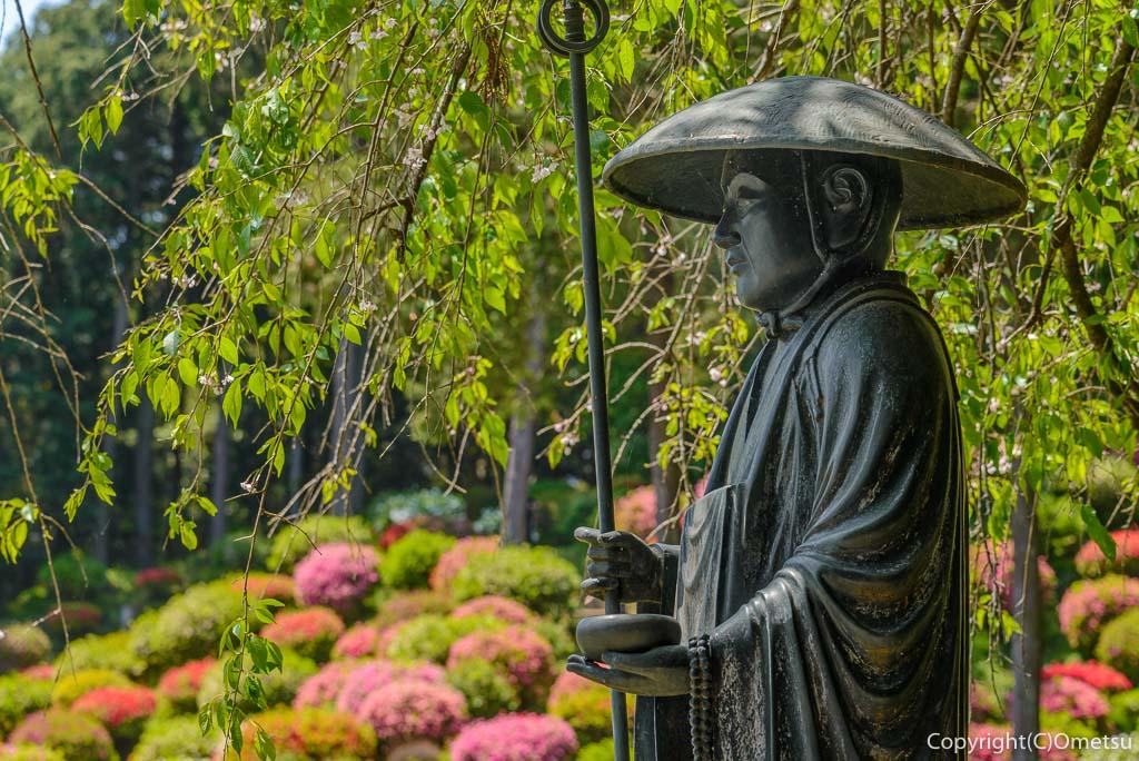 青梅市・薬王寺のツツジと弘法大師像
