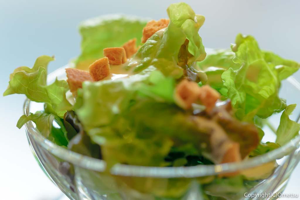 奥多摩町・海沢の東京多摩学園・カフェ&レストランSAKAの、秋山牛と奥多摩しいたけのハンバーグのサラダ
