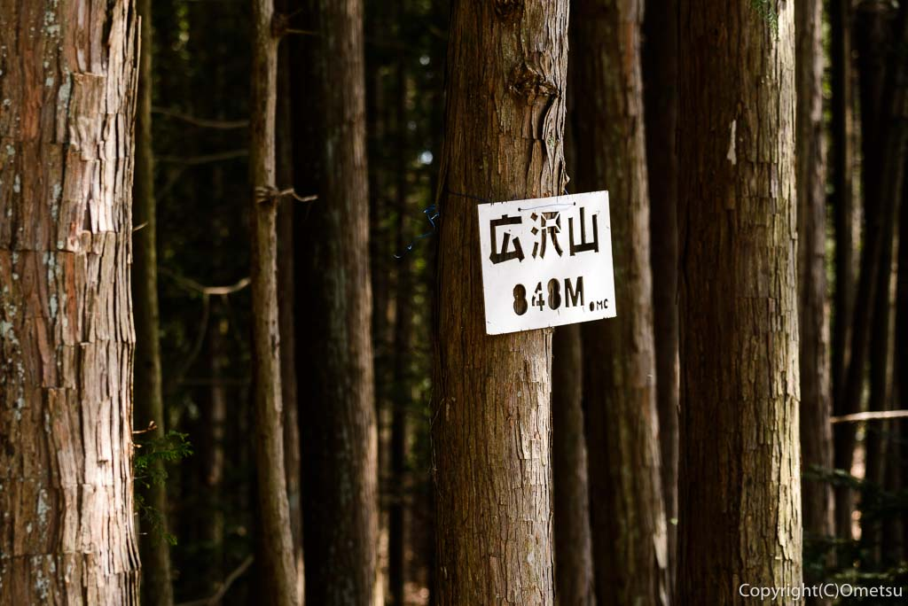 奥多摩町・大塚山・御岳山の黒五郎新道の広沢山頂上の標識