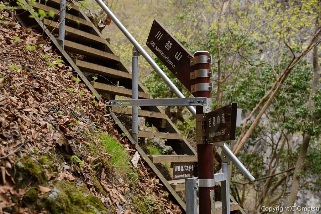 奥多摩町・川苔山の百尋ノ滝近くの道標