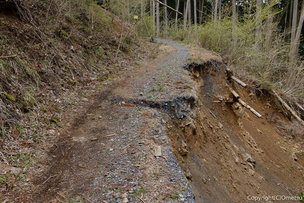 奥多摩町・川苔山・赤抗尾根の登山道の崩落