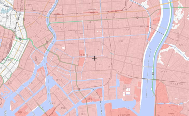 江東区付近の、盛土・切土 国土交通省 重ねるハザードマップ