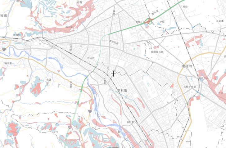 青梅・羽村市近辺の、盛土・切土 国土交通省 重ねるハザードマップ