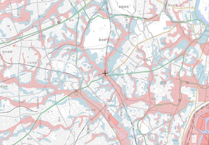 渋谷駅周辺の、盛土・切土 国土交通省 重ねるハザードマップ