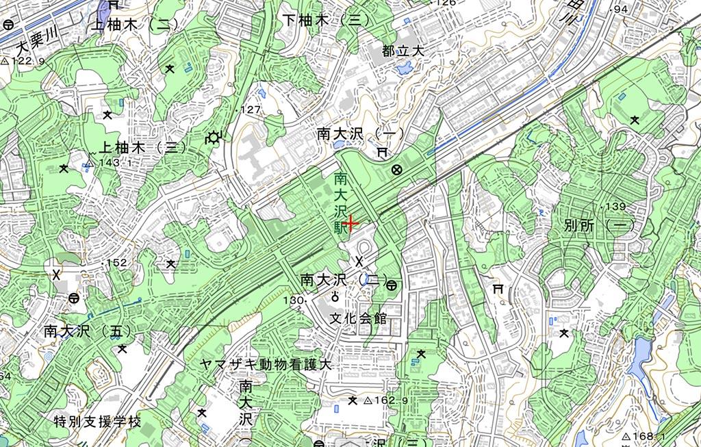 南大沢駅周辺の、大規模盛土造成地