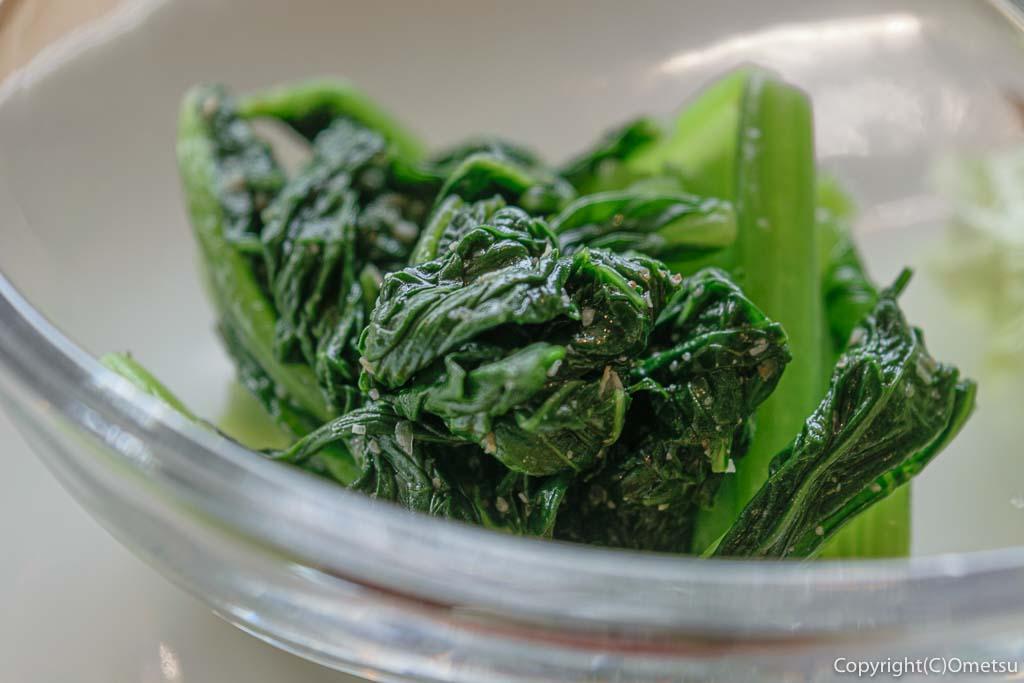 羽村「みんなのカフェ メリ・メロ」の今日のランチの、小松菜
