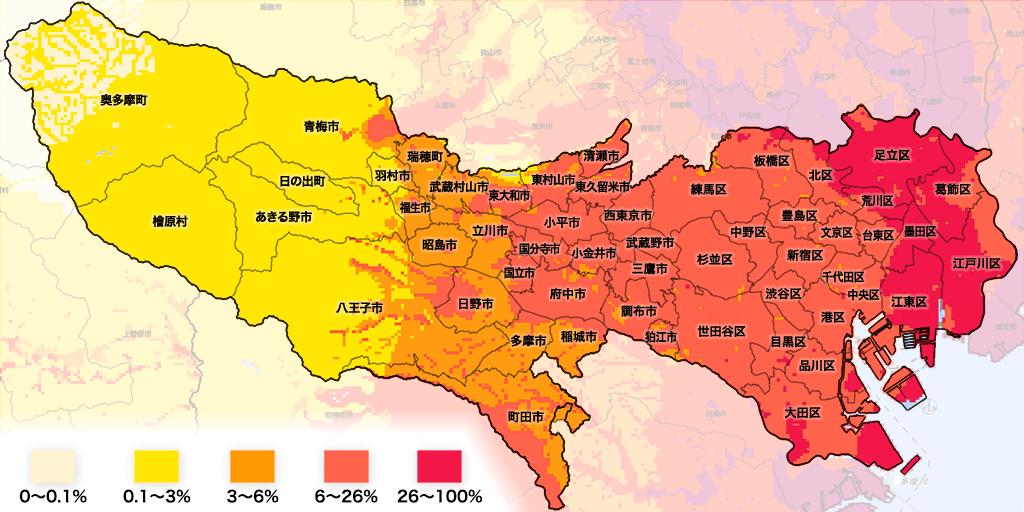 東京の地震確率(30年間以内・震度6強以上)